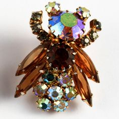 Vintage HoneyBee Rhinestone Figural Earrings in the by PinkAstilbe, $75.00