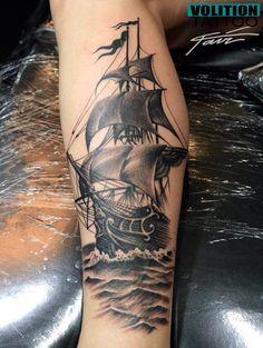 Tattoo by Fair (Volition Tattoo Shop) Ship Tattoo Sleeves, Leg Sleeve Tattoo, Leg Tattoo Men, Tattoo Sleeve Designs, Arm Tattoos For Guys, Forarm Tattoos, Dope Tattoos, Leg Tattoos, Feather Tattoos