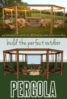 Build the perfect pergola! Learn to DIY this beautiful circular pergola with a c. Build the perfect pergola! Learn to DIY this beautiful circular pergola with a central firepit, swings, and Adirondack chairs - Little White House Blo. Diy Pergola, Outdoor Pergola, Pergola Ideas, Outdoor Swings, Pergola Plans, Pergola Swing, Pergola Roof, Cheap Pergola, Pergola Designs