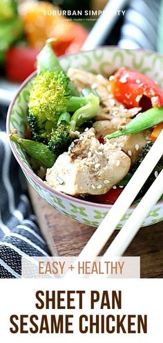 Try this easy Asian Inspired Sheet Pan Sesame Chicken and Veggies tonight! Tender chicken is marinated in a delicious Sesame sauce and baked to perfection in 30 minutes. You and your family are going to love this simple dinner recipe. Chicken And Beef Recipe, Sesame Sauce, Sesame Chicken, Easy Dinner Recipes, Dinner Ideas, Main Meals, Sheet Pan, Beef Recipes, Veggies