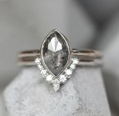 1.21 Carat Salt and Pepper Marquise Shaped Diamond Engagement Ring     one of my favorites!