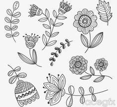 9 hand-painted flowers and foliage vector