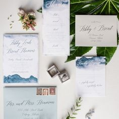 Modern and elegant watercolor wedding invitation suite by Pink Umbrella Designs. Photo by Raelene Schulmeister.