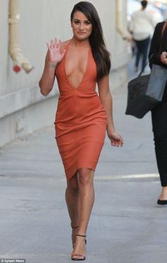 Taking the plunge: Lea Michele waved at fans as she showcased her cleavage in Hollywood on Tuesday