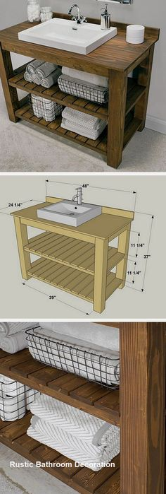 A DIY bathroom vanity is a great way to revamp your bathroom rather easily. After all, the vanity is most likely the focal point of your entire bathroom decor. Here are 24 easy DIY bathroom vanity plans with tutorials. Diy Bathroom Vanity, Rustic Bathroom Vanities, Diy Vanity, Vanity Ideas, Modern Bathroom, Rustic Vanity, Bathroom Cabinets, Bathroom Remodeling, Wood Vanity