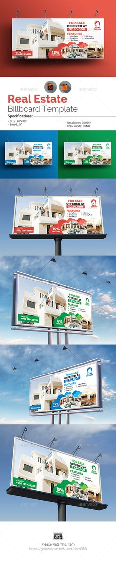 #Real Estate #Billboard Template - #Signage Print Templates Download here:  https://graphicriver.net/item/real-estate-billboard-template/20372364?ref=alena994