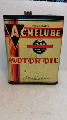 Antique Acmelube Motor Oil 2 gallon metal can