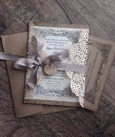 Rustic Gray Lace Wedding invitation SAMPLE by ScrappySeahorse
