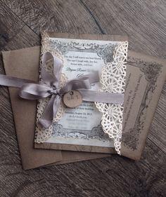 Rustikal-grau Spitzen Hochzeit Einladung von ScrappySeahorse