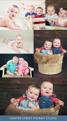 Watseka IL Photographer Laura Gioja - Center Street Portrait Studio twins 6 months session, boy and girl twins