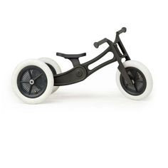 by Wishbone  Wishbone Bike 3in1 Recycled Edition (BLACK AND WHITE) and Classic  Styleconverts from trike to balance bike, it helps children learn to walk,  ride and balance.The RE Bike's frame is made from 100% post-consumer  recycled carpet with glass fibre added for strength. The frame incorporates  Wishbone's patented RotafixTM system for integrated adjustability of the  seat and frame all the way from 25cm to 50cm high!  DETAILS: 2 months to 6 years includes: black handgrips, 3 white…
