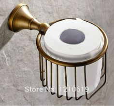 Newly US Free Shipping Solid Brass Bathroom Toilet Paper Basket Holder Antique Brass Round Tissue Rack Shelf  Wall Mounted
