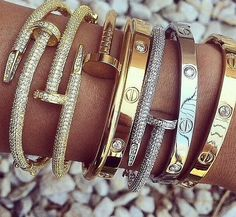 SHOP NOW! Cartier Love Bracelets www.brandedjewell - Chanel Skincare - Ideas of Chanel Skincare - SHOP NOW! Cartier Love Bracelets www. Jewelry Box, Jewelry Watches, Jewelry Accessories, Fashion Accessories, Fashion Jewelry, Bullet Jewelry, Cartier Armband, Bracelet Cartier, Love Bracelets