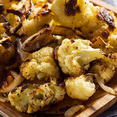 Roasted Cauliflower-Calories: 107Yield: 4 serving(s)-INGREDIENTS:1 medium cauliflower cut into florets1 medium sliced onion2 tbsp olive oil1 tsp salt¼ tsp red pepper flakeshot water and ½ tsp salt-DIRECTIONS:Preheat oven to 400F. Soak cauliflower florets and sliced onion in salted cold water for 10 minutes, then drain. Drizzle oil and salt on cauliflower and onion. Bake for 20 minutes turning half way. Sprinkle with pepper flakes and serve hot.-=-#sidedish #veggie #cauliflower #paleo #vegan…