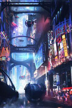 Best of Cyberpunk Art Futuristic Architecture - Sesempatmu Saja Cyberpunk City, Ville Cyberpunk, Cyberpunk Kunst, Sci Fi Kunst, Cyberpunk Aesthetic, Futuristic City, Futuristic Architecture, City Architecture, Chinese Architecture