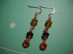 Amber and Copper Wire Wrapped Earrings by Beads4You2008 on Etsy,
