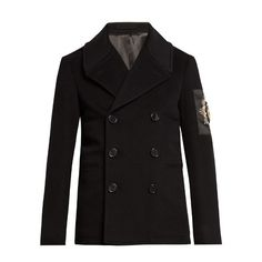 Alexander McQueen Embellished wool and cashmere-blend pea coat (7.460 RON) ❤ liked on Polyvore featuring men's fashion, men's clothing, men's outerwear, men's coats, black, mens wool outerwear, mens double breasted coat, mens slim fit wool coat, mens double breasted pea coat and mens slim fit coat