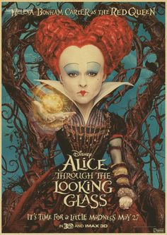 Alice Through the Looking Glass Helena Bonham Carter as the Red Queen Poster Film Tim Burton, Queen Alice, Disney Movie Posters, The Lone Ranger, Retro Poster, Walt Disney Pictures, Walt Disney Studios, Red Queen, Through The Looking Glass
