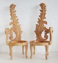 Heavily Carved Leaf Chair / Leaf Chair Right / Dutch Connection