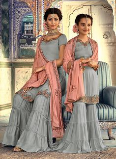 Grey Rangoli Georgette Mother & Daughter Wedding Wear Sharara Kameez Riwaayat Kids 6903 By Maisha Maskeen Indian Dresses, Indian Outfits, Pakistani Outfits, Indian Clothes, Mother Daughter Wedding, Sharara Suit, Anarkali Suits, Punjabi Suits, Stylish Suit