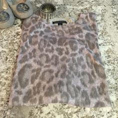 NWOT Gray/Purple Leopard Light Sweater Brand new year-round light sweater. Perfect day-to-night look. Pair with jeans/shorts/skirt! Gray and light purple color scheme with 3/4 sleeves. Perfect condition! Banana Republic Tops
