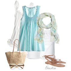 Summery lightweight tank and matching scarf. Lace-up sandals.