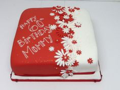 A beautiful red and white birthday cake for mom – Belle's Patisserie – – birthdaycakeideas 90th Birthday Cakes, White Birthday Cakes, Birthday Cake For Mom, Birthday Cake With Flowers, Beautiful Birthday Cakes, Birthday Cakes For Women, Beautiful Cakes, Amazing Cakes, Minnie Cake