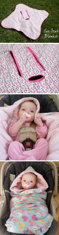 DIY: Baby car seat blanket with holes cut out for the seat belt - would make cute baby shower present. TUTORIAL HERE http://www.imperfecthomemaking.com/2012/01/tutorial-hooded-car-seat-blankies.html and HERE http://projectsbyjess.blogspot.com/2011/03/car-seat-blanket.html