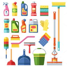 House cleaning tools vector CreativeWork247 - Fonts, Graphics, Themes, Templates