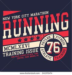 Sport running typography, t-shirt graphics, vectors - stock vector