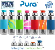 Pura Stainless 28oz Sport w/ silicone Big Mouth sport top. The only 100% plastic-free and NonToxic Certified infant line on the market. Baby Grows... Bottle Evolves technology allows EVERY bottle to work with EVERY lid.