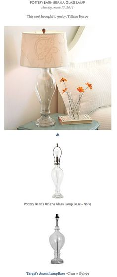 COPY CAT CHIC FIND: Pottery Barn's Briana Glass Lamp Base VS Target's Accent Lamp Base