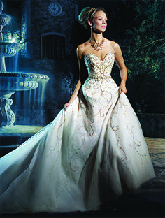 Cinderella is a classic fairy-tale so a classic ball gown with a royal feel fits her just right.