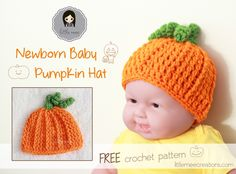 baby pumpkin hat free crochet pattern by LittleMeeCreations *Use for Custom Order