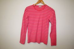 MARIMEKKO Shirt Nautical Top Red White Striped Sailor Blouse Marine Long Sleeves Cotton Small Size Measurements (laying flat):  Shoulders - 14  / Red And Pink, Red And White, Nautical Tops, Marimekko, Good Old, Sailor, Flat, Blouse, Long Sleeve