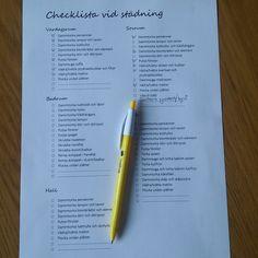 Utskriftsvänlig checklista vid städning