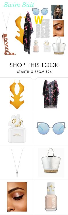 """""""Swim suit"""" by k-ahmad on Polyvore featuring WithChic, Marc Jacobs, Matthew Williamson, yellow and swimsuitcutout"""