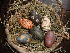 Prim Grungy Eggs...in a burlap bowl. Good for Easter Egg hunts outside.