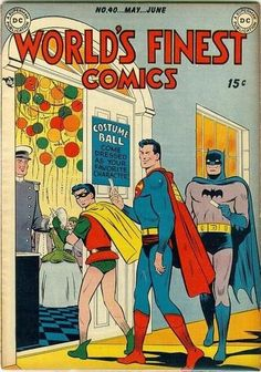 "I love how many Golden Age ""World's Finest"" covers are basically just Superman and Batman taking their adopted son Robin out for fun activities like good supportive parents (though not above a little. Dc Comic Books, Vintage Comic Books, Vintage Comics, Comic Book Covers, Comic Book Heroes, Comic Art, Batman Superman Comic, Batman Comics, Robin Comics"