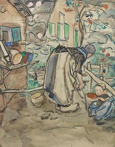 Jan Sluijters,Working in a garden, watercolour