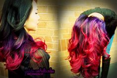 Purple to pink ombre ~ done by HelloCindee on Youtube