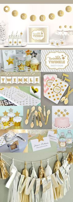 Twinkle Little Star Party Decorations Twinkle Twinkle Birthday Theme for a Girls 1st Birthday Ideas by ModParty