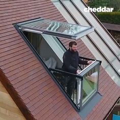 This window Transform into A Balcony within seconds💡 The Danish company Velux has developed a Shape-Shifting balcony system that fits… Skylight Window, Balcony Window, Attic Window, Roof Window, Roof Balcony, Glass Balcony, Glass Roof, Attic Bedroom Designs, Attic Design