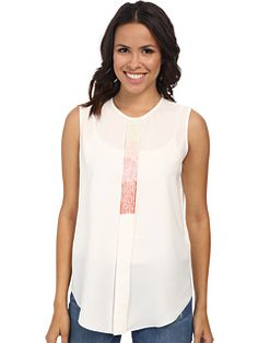 Vince Camuto Sleeveless Crew Neck Embelished Top