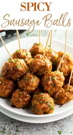 Sausage Meatballs, Spicy Sausage, Sausage Appetizers, Appetizer Recipes, Brunch Recipes, Snack Recipes, Side Dishes Easy, Side Dish Recipes, Best Sausage Ball Recipe