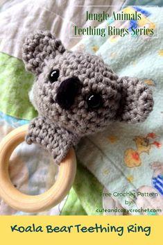 Koala Bear Teething Ring | Free Crochet Pattern | Jungle Animals Teething Rings Series