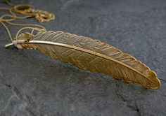 feather necklace-Gold Wild Feather and Pearls Charm Necklace-Maid Marian