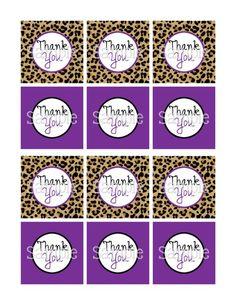 Printable Cheetah & Purple Girl Baby Shower 2.25 Thank You Tags | aMerAZNStyLe - Digital Art  on ArtFire