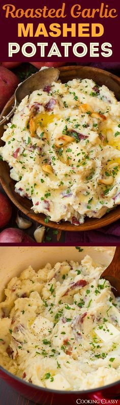 Garlic Mashed Potatoes - thesewill quickly become a dinner staple! They're deliciously buttery and creamy and that roasted garlic flavor just takes them over the top! Plus only basic everyday ingredients are needed for this comforting side dish. #garlicmashedpotatoes #potatoes #sidedish #comfortfood #recipe