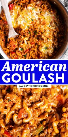 Try this easy classic for a busy weeknight meal! American Goulash is easy to make in one pot with macaroni pasta, ground beef, sauce and cheese - and tastes absolutely delicious. The best family dinner! | #onepotpasta #pastarecipe #familydinner #easydinner #easyrecipes Goulash Recipes, Slow Cooker Recipes, Easy Family Dinners, Quick Easy Meals, American Goulash, Beef Sauce, Macaroni Pasta, Delicious Dinner Recipes, Pinterest Recipes